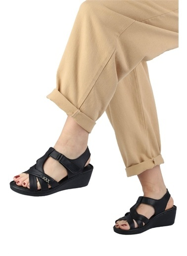 Modabuymus Modabuymus  Hakiki Deri Dolgu n Anatomik Cırtlı Sandalet - Aliya Siyah